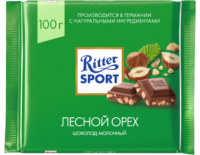 Ritter Sport Шоколад молочный с обжаренным орехом лещины 100 гр 1/12