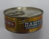 """Паштет печёночный смет/зелень 100 гр, ключ, 1/24 """"Кусокъ"""""""