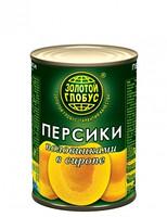 Компот Персик полов. в сиропе Золотой Глобус ж\б 850 гр.  1/12