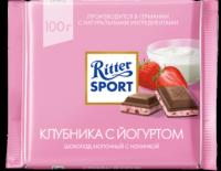 Ritter Sport Шоколад молочный клубника с йогуртом 100 гр 1/12