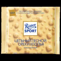 Ritter Sport Шоколад белый с цельным обжаренным орехом лещины и хлопьями 100 гр 1/10